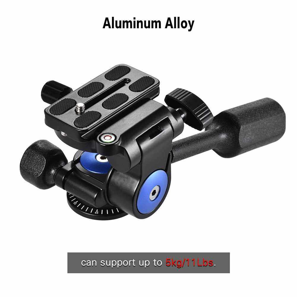 Andoer A-40 3 Way Camera Video Head Aluminum Alloy 360 Panoramic Photographic Damping Head for Canon Nikon Sony for Tripod Monopod Slider Max. Load 5kg/11Lbs (Black)