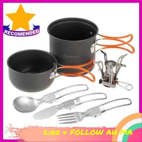 Best Selling TOMSHOO Mini Camping Stove Cooking Pot Foldable Spoon Fork Cutter Cookware Set for Outdoor Camping Hiking Backpacking Picnic (Standard)