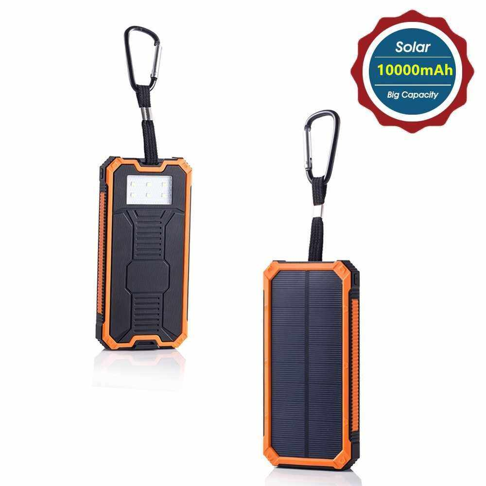 Best Selling 10000mAh Solar Energy Panel Charger 2 USB Ports Rechargeable Power Bank Portable Charger for Smartphone (Orange.)