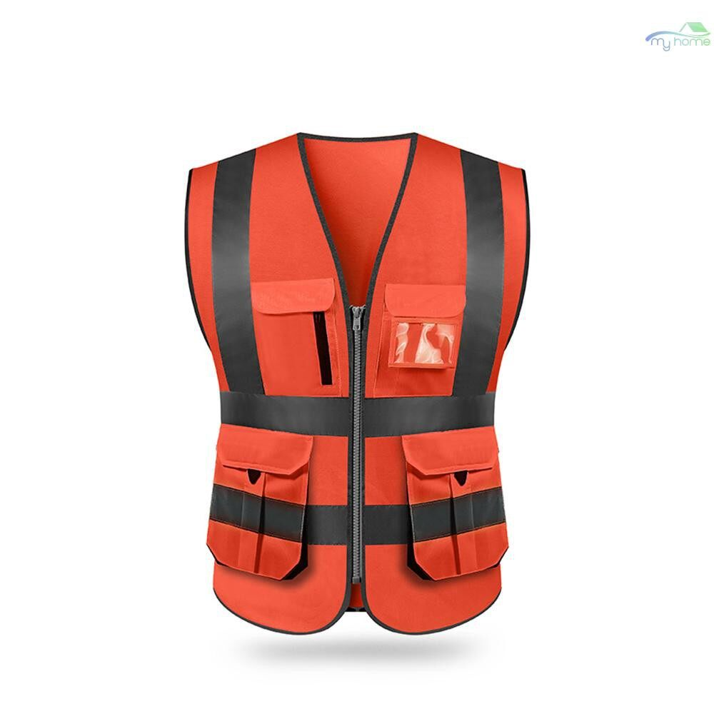 Protective Clothing & Equipment - SFVest High Visibility Reflective Safety Vest Reflective Vest Multi Pockets Workwear Security - BLACK&YELLOW-XXL / BLACK&YELLOW-XL / BLACK&YELLOW-L / BLACK&YELLOW-M / GOLD-XXL / GOLD-XL / GOLD-L / GOLD-M / RED-XXL /