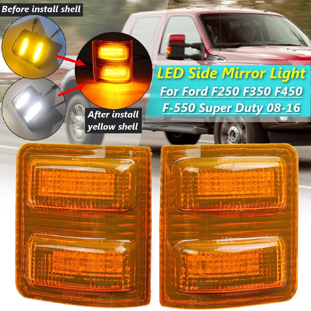 Car Lights - 1xPair LED Side Marker Light LED Side Mirror Marker Lights For Ford F250 F350 F450 F-550 Super Duty - Replacement Parts