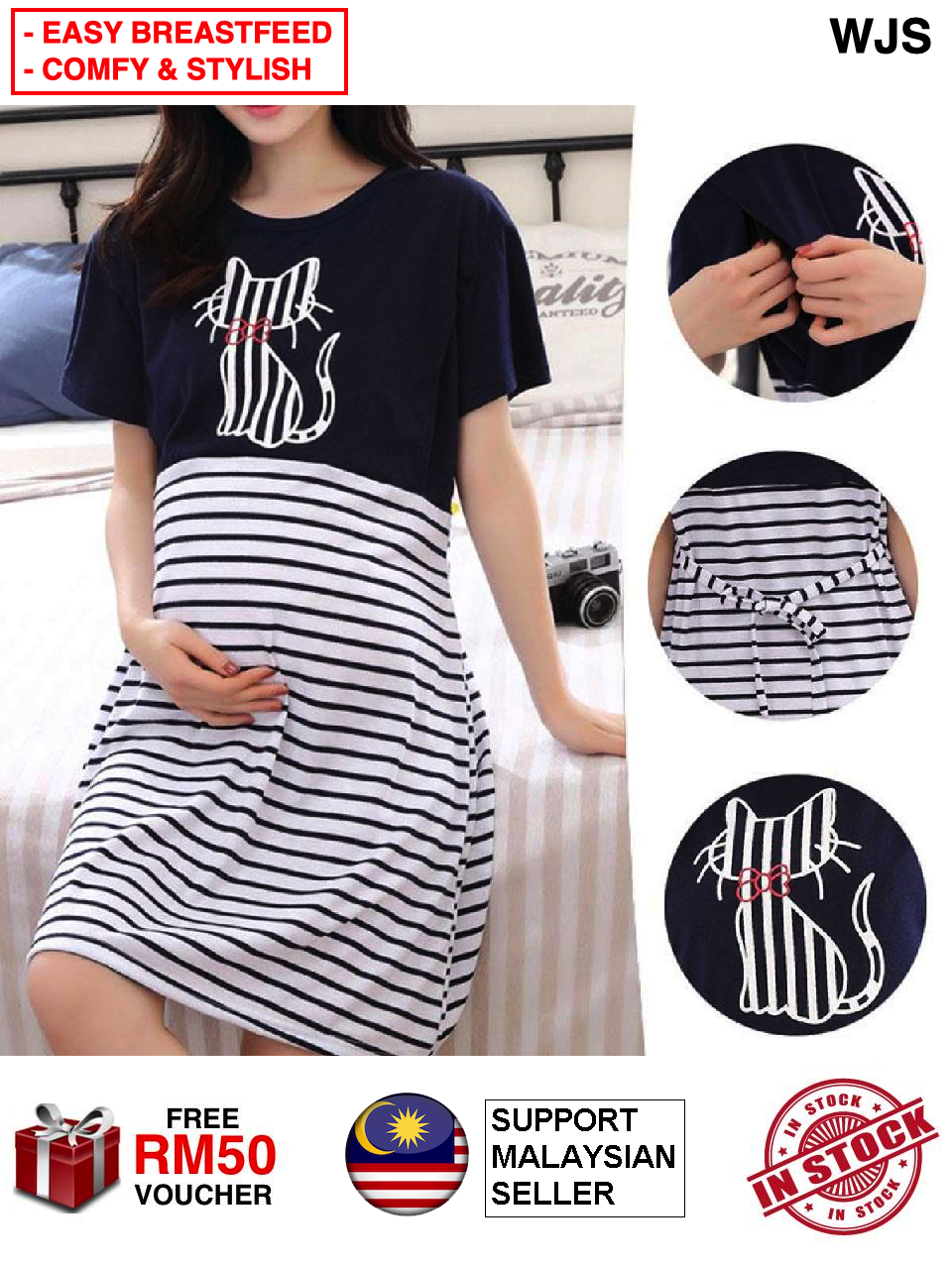 (BREASTFEED + STYLISH) WJS Latest Fashion Women Maternity Cat Stripe Dress Summer Dresses Breastfeeding Clothes Breastfeed Dress Pregnant Dress Mother Dress Clothes Pakaian Ibu Mengandung Menyusu BLUE GREY [FREE RM 50 VOUCHER]