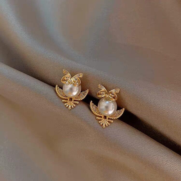 (Pre-Order)(Korean Owl Design Earrings 925银针韩国东大门猫头鹰珍珠耳环网红新款百搭气质耳钉个性耳饰)(ETA:2021-12-31)