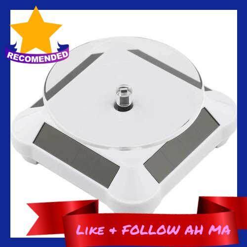 Best Selling Solar Power Battery 360 Degree Turntable Rotating Display Stand Holder (White)