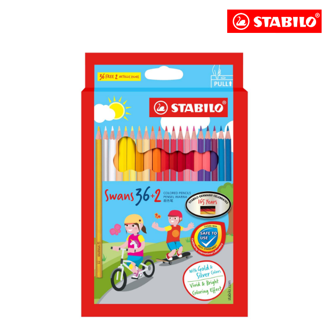 **SPECIAL EDITION** STABILO® Swans Colored Pencils Safe to Use Smooth Colouring Vivid Colors for Children (36+2 colours)