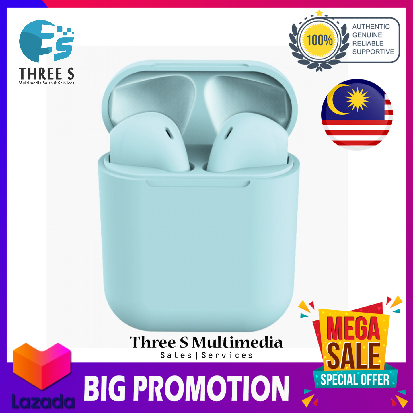 Stereo inPods 12 TWS Wireless v5.0 Bluetooth Earphone inPods12 Earbud For Apple & Android