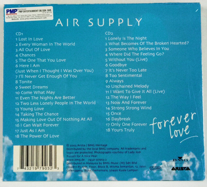Air Supply Forever Love : 36 Greatest Hits 1980-2001 Double Disc Compilation Album