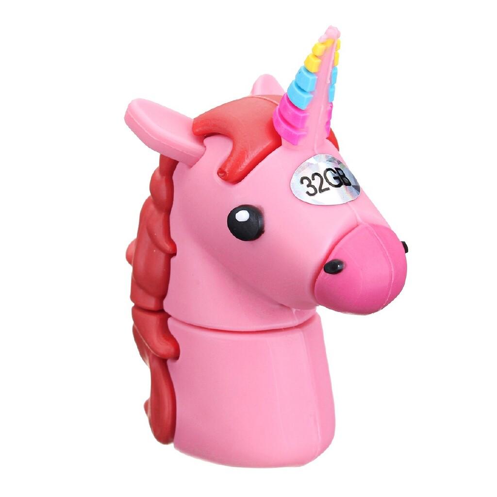 OTG USB - Cute Unicorn Cartoon Horse Shaped USB 2.0 Memory Stick Flash - BLUE 32GB / BLUE16GB / BLUE 8GB / BLUE 4GB / BLUE 1GB / WHITE 32GB / WHITE 16GB / WHITE 8GB / WHITE 4GB / WHITE 1GB / PINK 32GB / PINK 16GB / PINK 8GB / PINK 4GB / PINK 1GB / BL