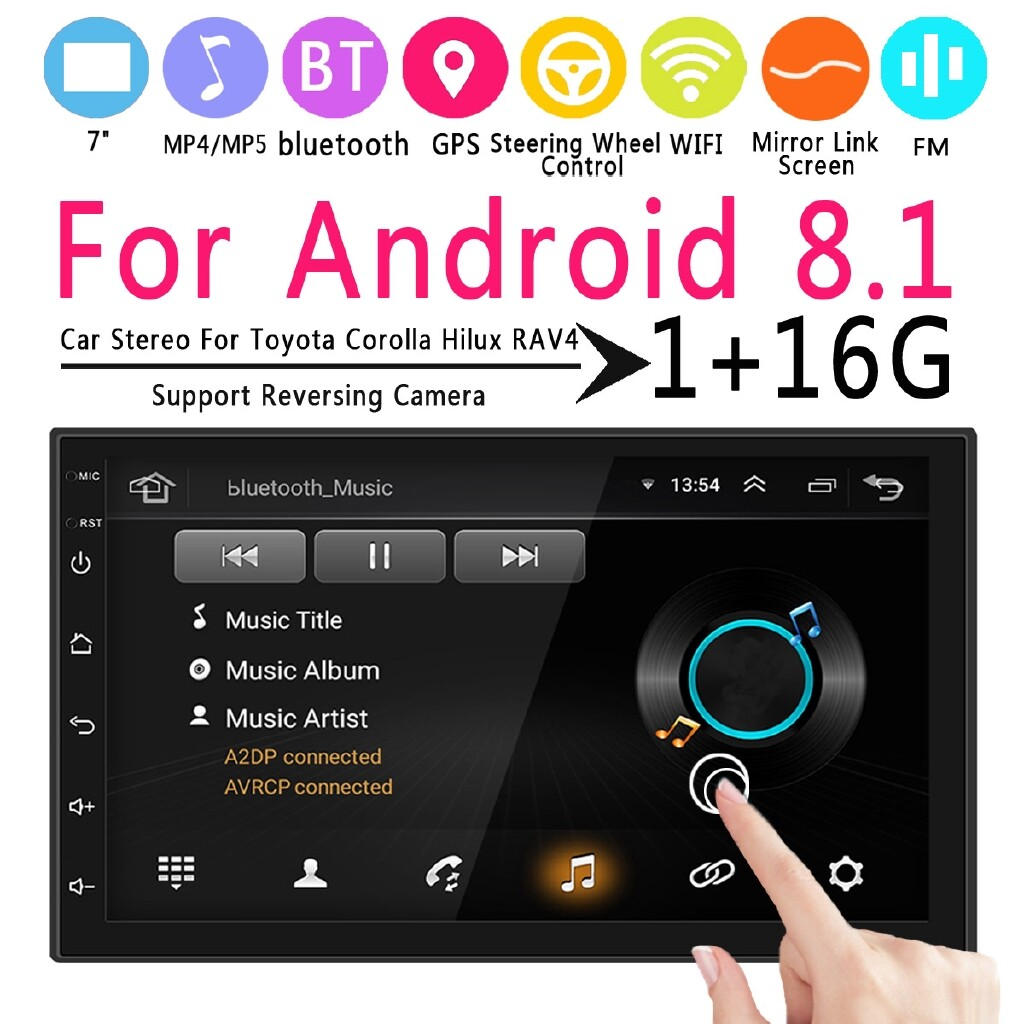 Vehicle GPS - 7\'\' 2 Din Android 8.1 Player Stereo BLUETOOTH For Toyota Corolla Hilux RAV4 - Car Electronics