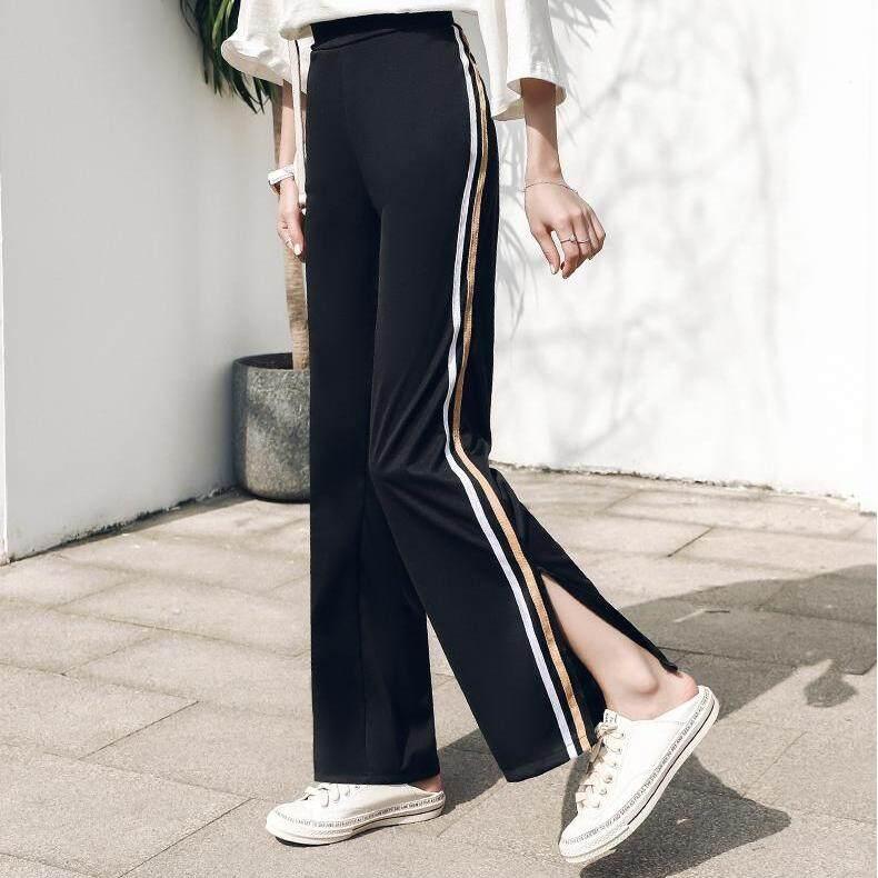 (PRE ORDER) WOMEN SLIM SPLIT TROUSERS HIGH WAIST PANTS