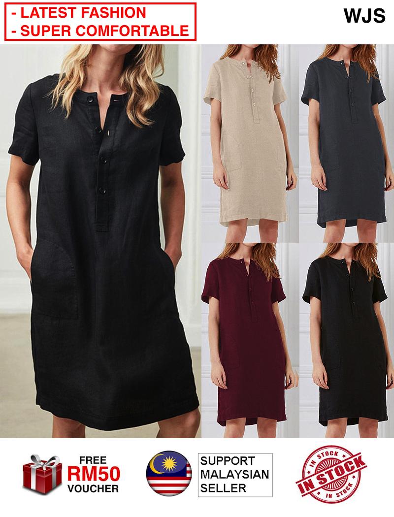 (HOT EUROPE STYLE) WJS European Style Casual Plus Size Super Comfortable Women Button Cotton Linen Long Maxi Dress Short Sleeve Pocket Western Style Dress Dresses MULTISIZE MULTICOLOR [FREE RM 50 VOUCHER]