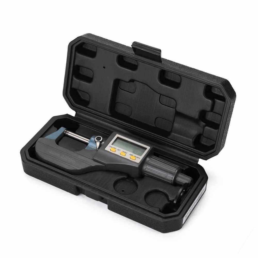 0-25mm 0.001mm Electronic Outside Micrometer with Large LCD Screen Digital Micrometers Electronic Digital Caliper Thickness Gauge (Standard)