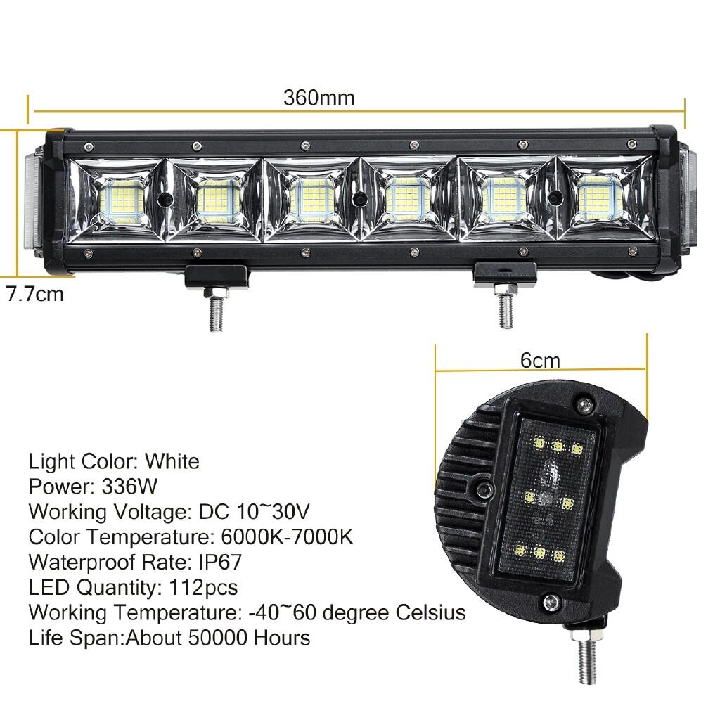 Car Lights - 336W 112 LED Work Light Bar Driving Lamp Offroad Car SUV ATV UTV 4WD 4X4 12V/24V - Replacement Parts