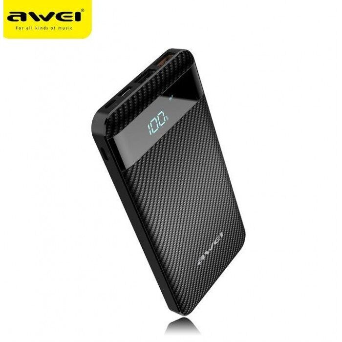 Awei P63K QC 3.0 10000Mah Power Bank, Dual USB Output, Micro USB Type C And Lightning Input