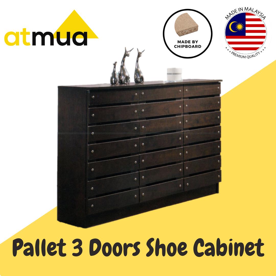 Atmua Pallet Shoes Cabinet - 3 Door [Particle Board]