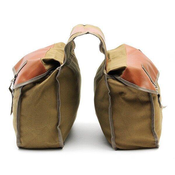 Moto Accessories - Motorcycle Bike Side Saddle Bag Canvas Luggage Khaki Bag - GREEN / KHAKI