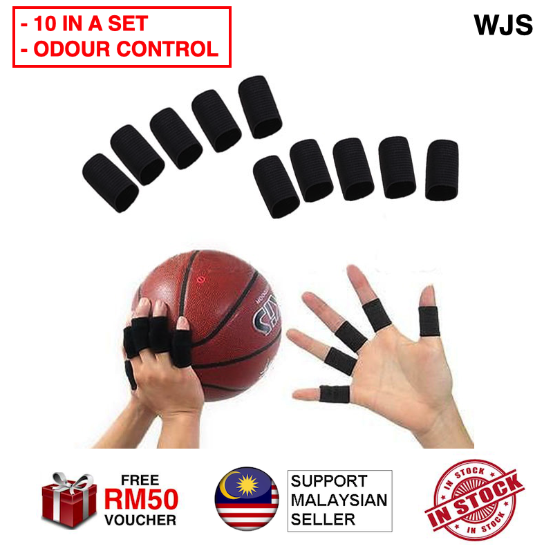 (ODOUR CONTROL) WJS 10pcs 10 pcs Stretchy Finger Sleeve Support Wrap Finger Wrap Thumb Glove Arthritis Guard Volleyball Sports Basketball Glove Sarung Tangan Sarung Jari BLACK BLUE [FREE RM 50 VOUCHER]
