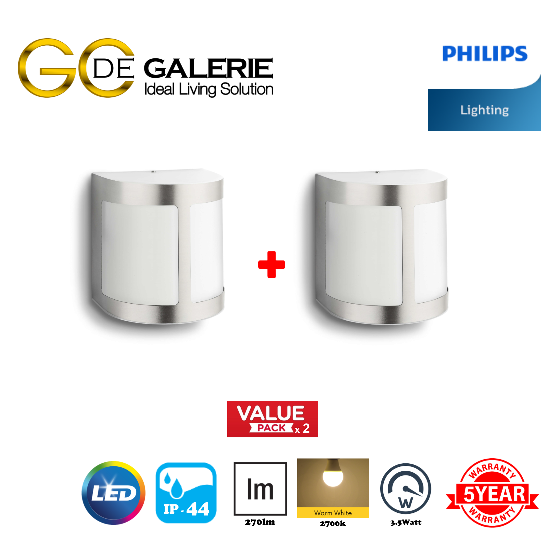 WALL LIGHT OUTDOOR LED PHILIPS 17300 MYGARDEN PARROT INOX 1x3.5W (2 PACK)