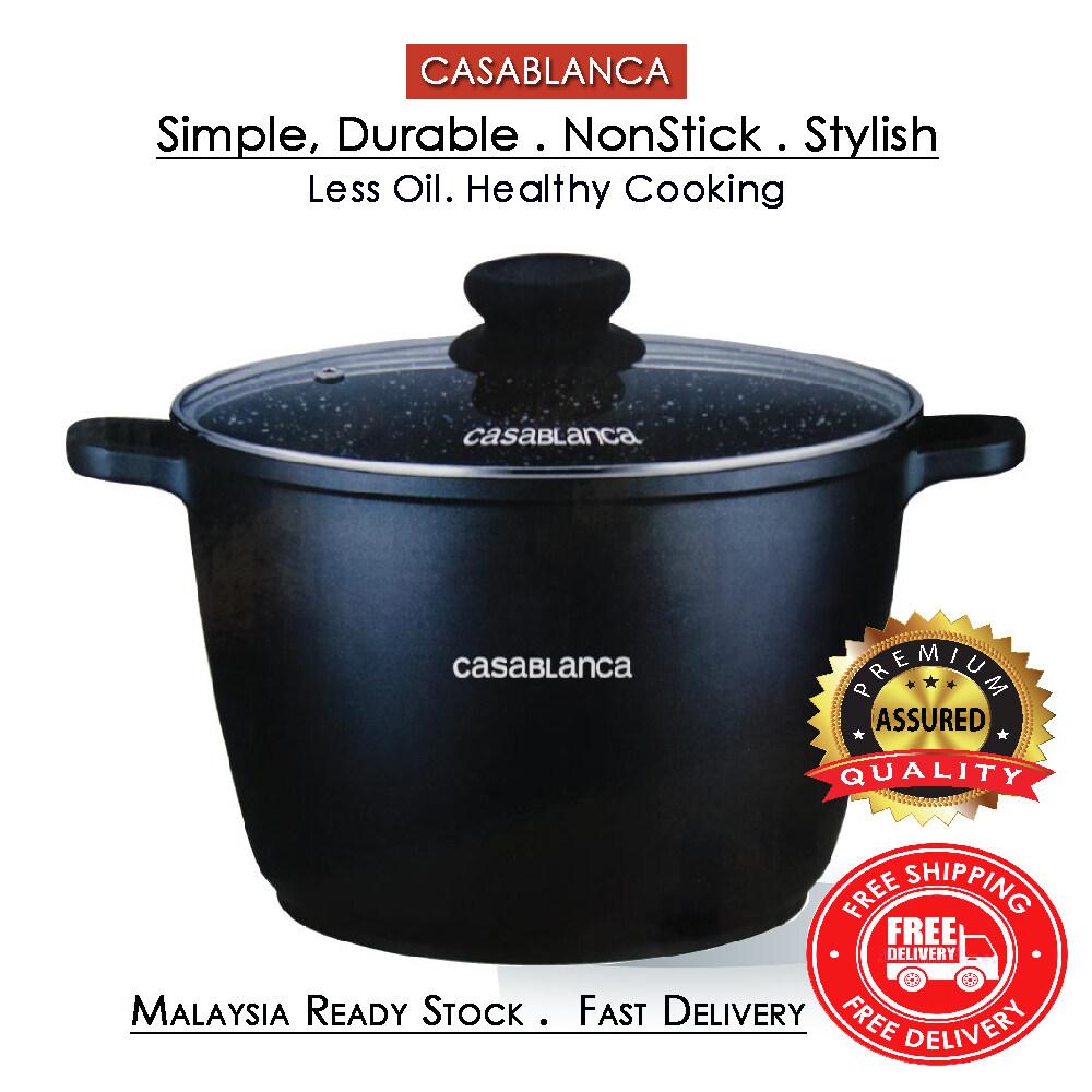 [Ready Stock] Casablanca  Aluminium Die Cast Non Stick Marble Coated  Cooking Stock Pot
