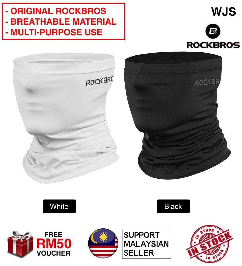 (ORIGINAL COOLING MASK) WJS RockBros Face Neck Mask Cycling Half Face Mask Motorcycle Neck Warmer Riding Neck Gaiter Cooling Climbing Running Hiking Neck Wrap Ice Silk Dust Sunlight Protection Cycling Headgear ROCK BROS BLACK WHITE [FREE RM 50 VOUCHER]