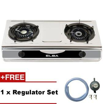 Harga ELBA EGS-F7112(SS) Gas Stove 2-Burner Steel Gas Cooker