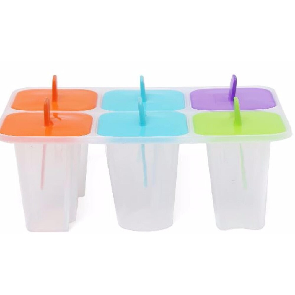 Ice Lolly Mold - 6 pcs/Set Ice Cream Maker Mold Cups Shape Plastic Juice Frozen Mould Cube - #Popsicle Shape - Fun 8 Freezer Ice Maker Mold Mold Popsicle Yogurt Ice Cream Frozen Pop DIY Safe