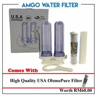 Harga AMGO Double Water Filter Two Stage Water Filter Counter Top Double Stage Filtration Value Set