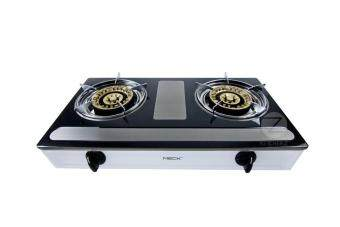 Harga MECK Table-top Gas Stove MGS-1455AY Double Burner 145mm - Stainless Steel Body