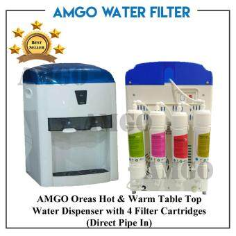 Harga AMGO Oreas 803 Hot And Warm Table Top Water Dispenser With 4 Water Filter Cartridge