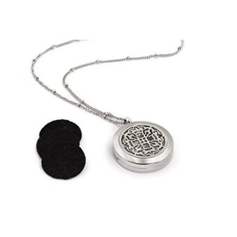 Harga [GPL] Essential Oil Diffuser Necklace - Gorgeous AromatherapyJewelry - Hypoallergenic 316L Surgical Grade Stainless Steel - 25mmDiameter. 20.8 Inch Max Length Elegant Chain - BONUS 8 WashableInsert Pads/ship from USA