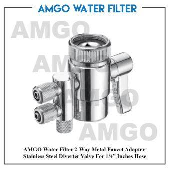 "Harga AMGO 2-Way Metal Faucet Adapter Stainless Steel Diverter Valve For 1/4"" Inches Hose"