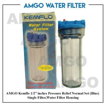 "Harga AMGO Kemflo 1/2"" inches Pressure Relief Normal Set (Blue) Single Filter,Water Filter Housing"