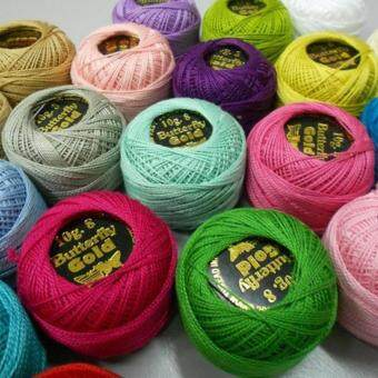 Harga Butterfly Gold Pearl Cotton & Embroidery Thread Plain color 5 balls