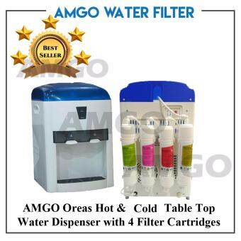 Harga AMGO 803 Oreas Hot And Cold Table Top Water Dispenser With 4 Water Filter Cartridge