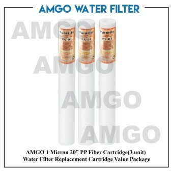 "Harga AMGO 1 Micron 20"" PP Fiber Cartridge(3 unit) Water Filter Replacement Cartridge Value Package"