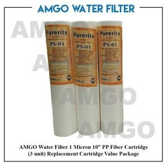 "Harga AMGO 1 Micron 10"" PP Fiber Cartridge(3 unit) Water Filter Replacement Cartridge Value Package"