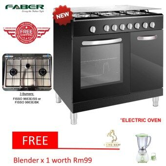 Harga [New Arrival]Faber Free Standing 3 Burner Cooker With Electric OvenFISSO 9663E/SS