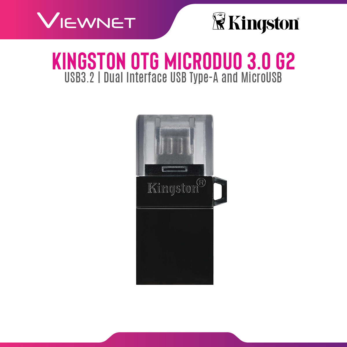 Kingston OTG DataTraveler microDuo 3.0 G2 with Dual Interface USB Type-A and Micro USB, Cap Protect, Strap Hole, Plug and Play (32GB / 64GB / 128GB)