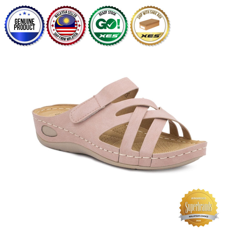 XES Ladies LCKL400-12 Slip-on Comfort Wedges (Pink)