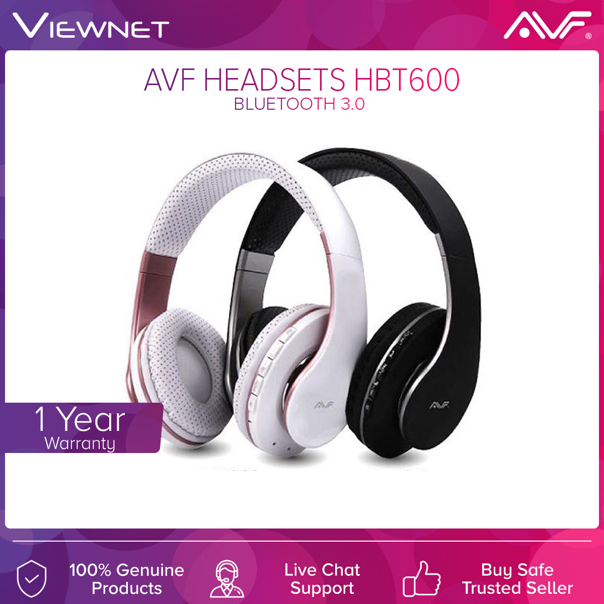 AVF Wireless Headsets HBT600 with Bluetooth V3.0, AUX-In Mode, TF Card Mode, FM Radio Mode, 8 Hours Battery Life