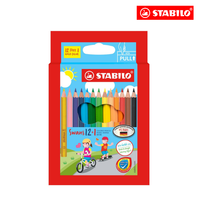 **SPECIAL EDITION** STABILO® Swans Colored Pencils Safe to Use Smooth Colouring Vivid Colors for Children (12+1 colours (S)