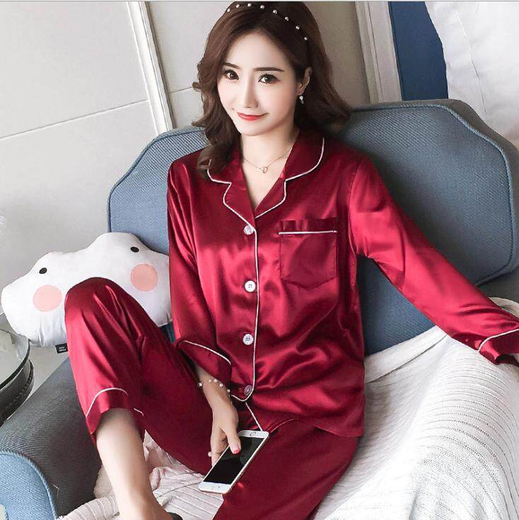 Bolster Store Ladies Women Loose Satin Blouse Long Pants Set Comfortable Night Wear Pajamas