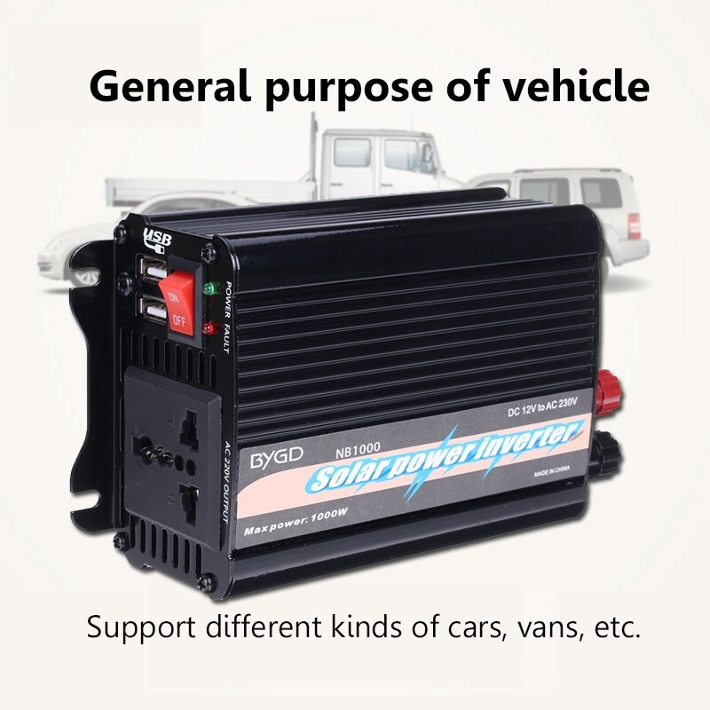 Automotive Tools & Equipment - Solar Power Inverter 1000W 2000W Peak 12V DC to 230V AC Modified Sine Converter - Car Replacement Parts