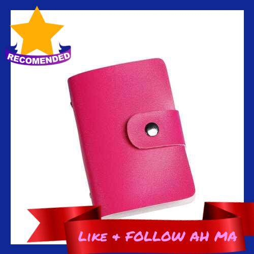 Best Selling Fashion Women Men Card Holder Organizer 24 Card Slots PU Leather Business ID Credit Card Case (Rose Red)
