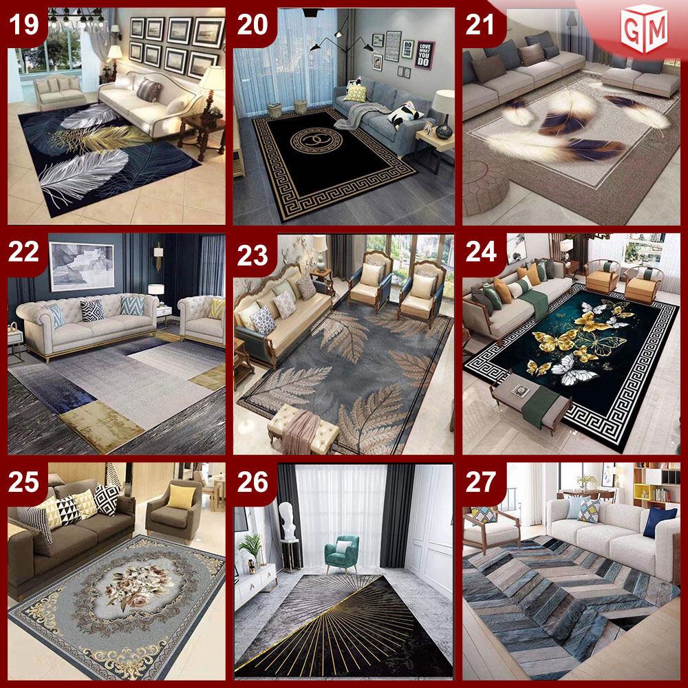 NEW DESIGN CARPET SIZE BESAR L/XL European Style Carpet Printed 3D Mat Floor - Karpet Bercorak 3D Waterproof/Living Room/Bedroom Material Velvet (Batch 1-3)
