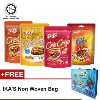 IKA'S Fish Snack Crunchy Fish Rolls 55g and Karasquid 65g (4pkt Snacks)