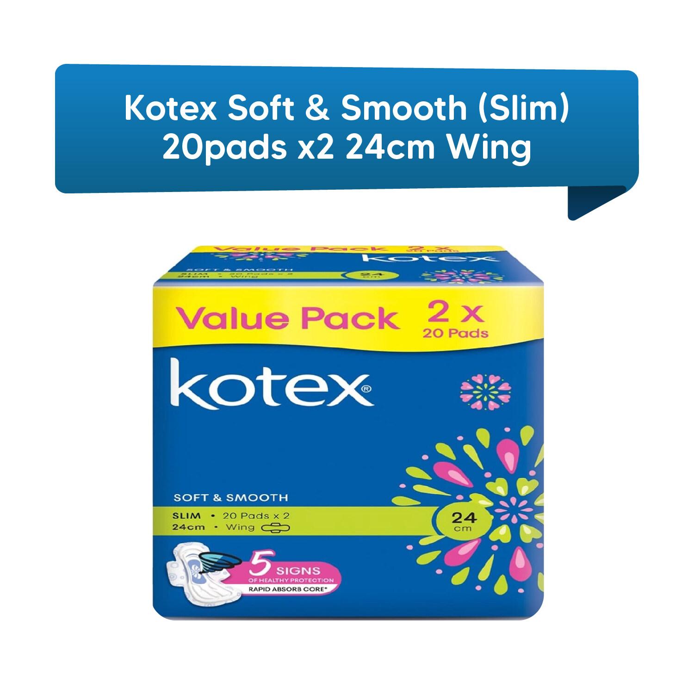 Kotex Soft & Smooth Slim Value Packs (20pads x 2) 24 cm Wing