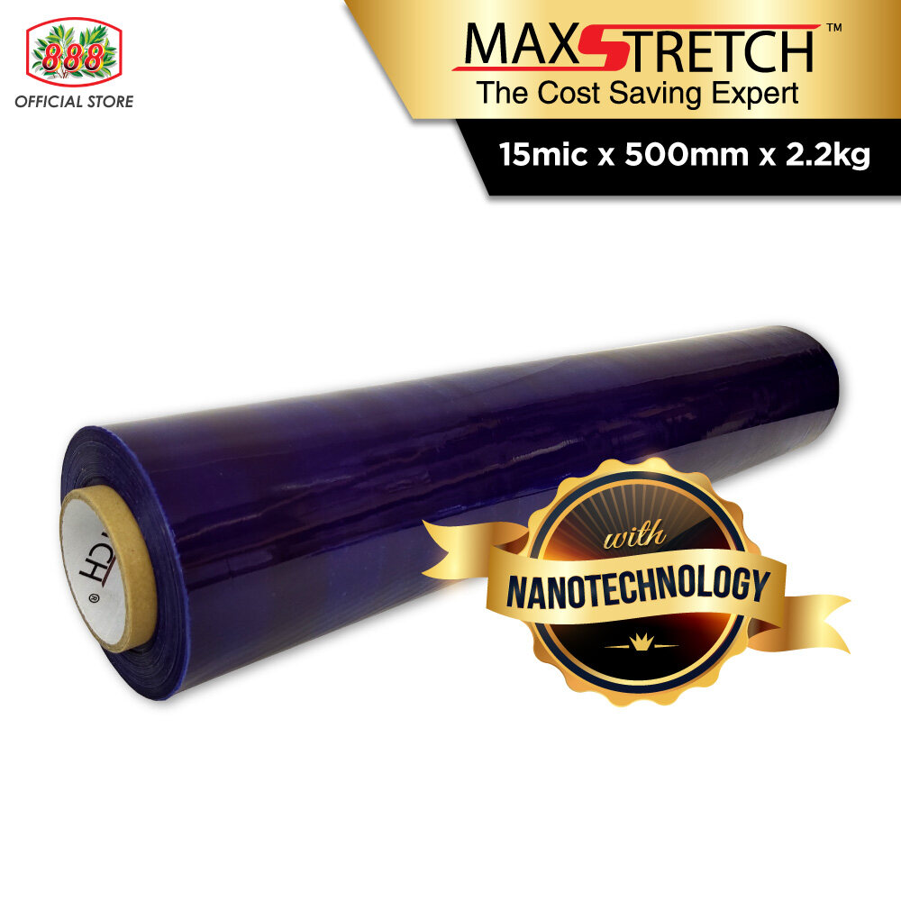 MAX STRETCH Stretch Film/Wrapping Firm/Plastic Pallet Wrap - Blue (500mm x 2.2Kg X 1 Roll)