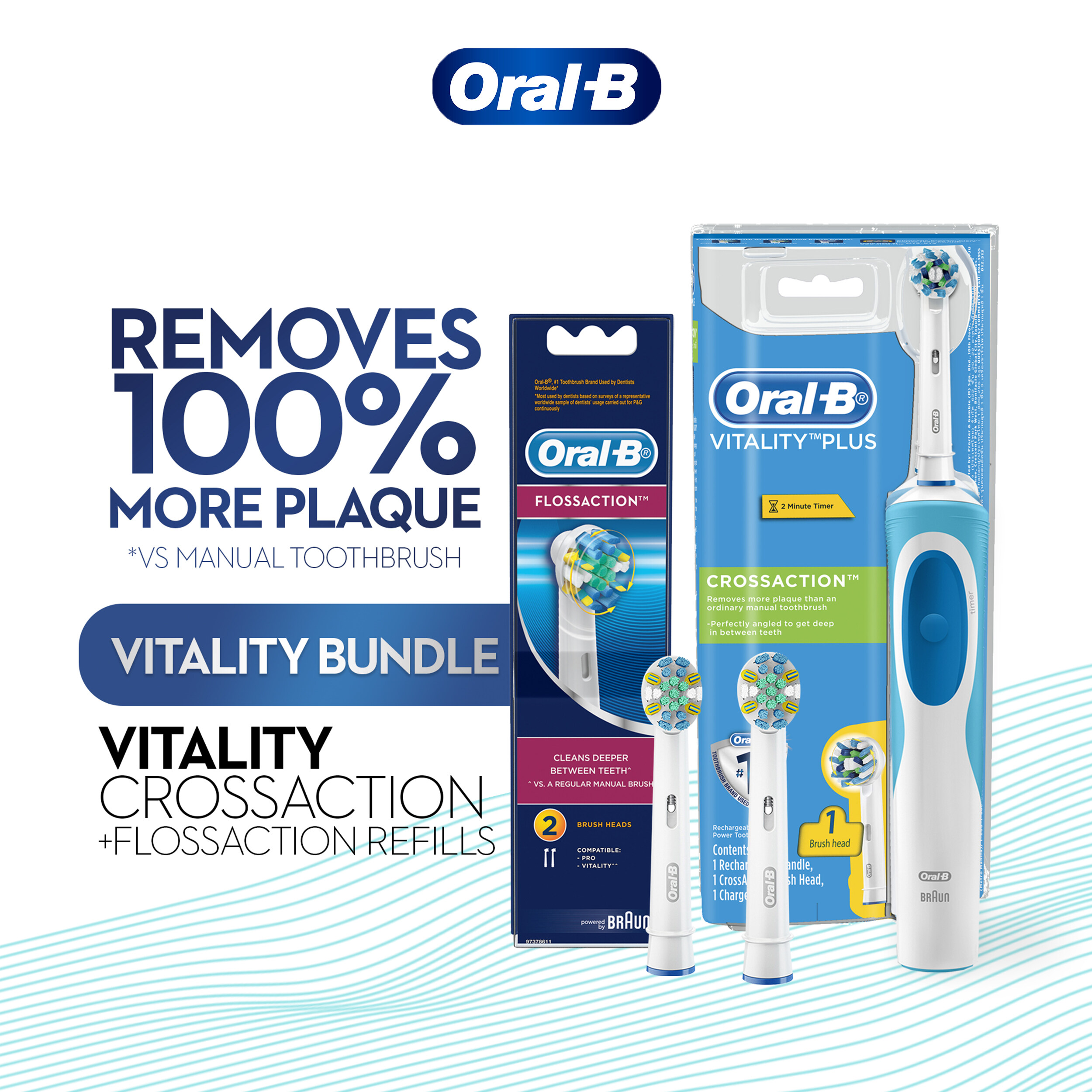 Oral-B Vitality Plus CrossAction Electric Toothbrush & Floss Action Refill 2 Count