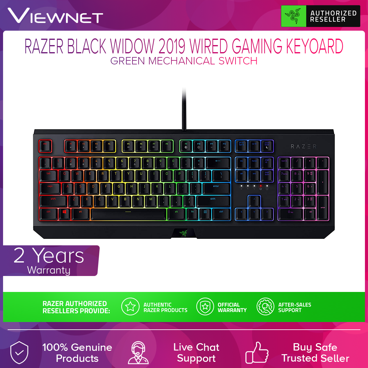 Razer BlackWidow 2019 Gaming Keyboard Green Switch (RZ03-02860100-R3M1)
